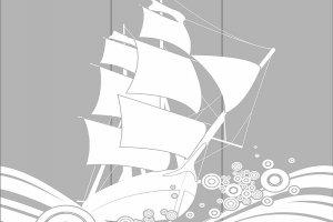 Пескоструйные рисунки - море, корабли, рыбы